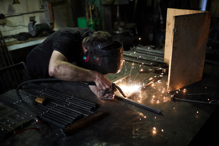 Using welding torch Stockfoto