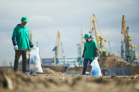 Activists picking litter on site