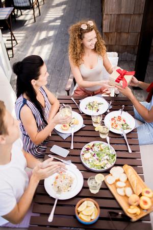 Birthday Dinner in Cafe Stockfoto