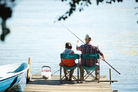 Fishing with son 版權商用圖片