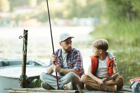 Fishing on countryside Stock Photo