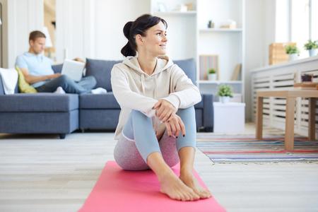 Home yoga Stock Photo