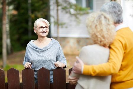 Meeting neighbours Stockfoto