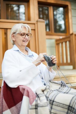 Knitting socks Stock Photo