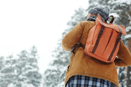 Rear view of male backpacker with orange back walking under snow in winter forest and contemplating nature at hiking Stock fotó