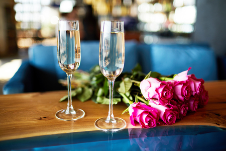 Roses and champagne Stock Photo