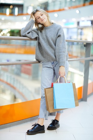Shopaholic in the mall Stock Photo