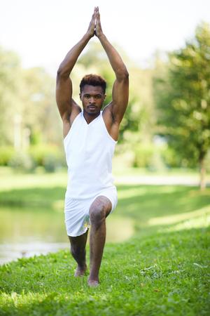 Strengthening body with yoga exercise