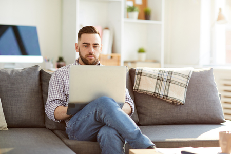 Manager with laptop Stock Photo