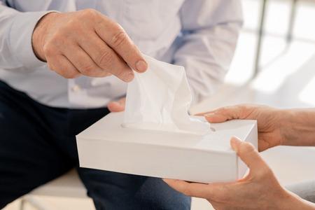 Taking handkerchief