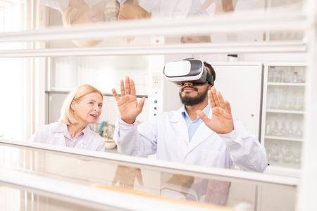 Using virtual reality for scientific experiment Banco de Imagens