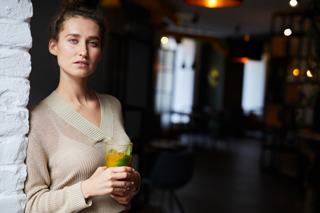 Woman with glass of juice Stockfoto