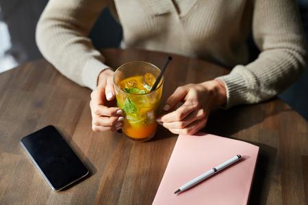 Having fresh fruit cocktail