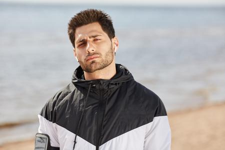 Athlete on the beach Stockfoto