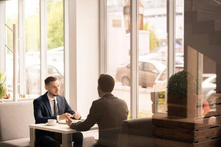 Interview in restaurant 스톡 콘텐츠 - 124897805
