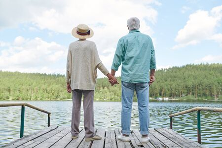 Rear view of restful senior couple enjoying their solitude by waterside while standing on wooden pontoon