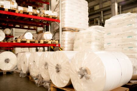 Rows and stacks of packed polymer membrane prepared for delivery