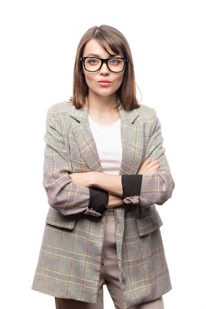 Young confident businesswoman in formalwear and eyeglasses Stock Photo