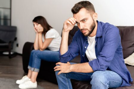 Frustrated couple not talking to one another Stock Photo