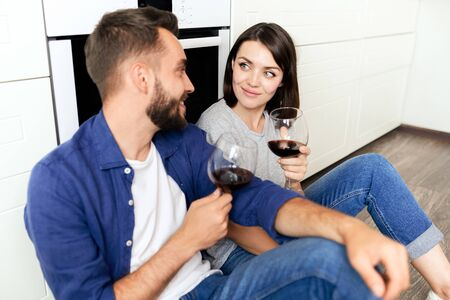 Couple celebrating anniversary at home