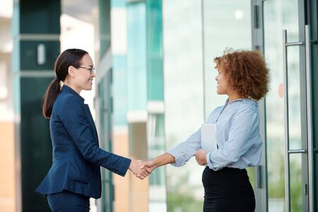 Two young successful female colleagues welcoming one another by handshake Reklamní fotografie
