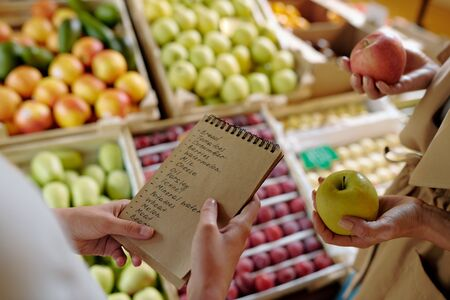 Hands of girl holding notepad with shopping list by display with fruits