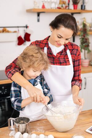 Young female helping her son whisk eggs with flour in bowl while preparing dough Zdjęcie Seryjne