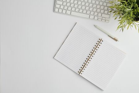 Flat layout with pen, computer keypad, open notebook with blank pages and plant Stockfoto
