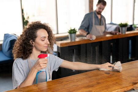 Young female owner of restaurant spraying detergent on bar counter Standard-Bild
