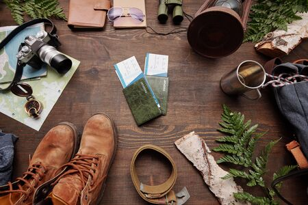 Above view of prepared tickets and passports for foreign adventure, green twigs, boots, belt, camera and map on table, flat lay Standard-Bild
