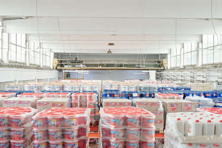 Interior of large contemporary warehouse of modern building stuff hypermarket