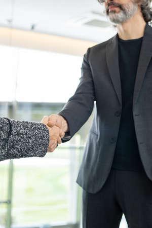 Elegant mature businessman greeting his new colleague or business partner