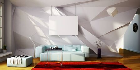 3d illustration of mock up interior with parametric wall Stock fotó