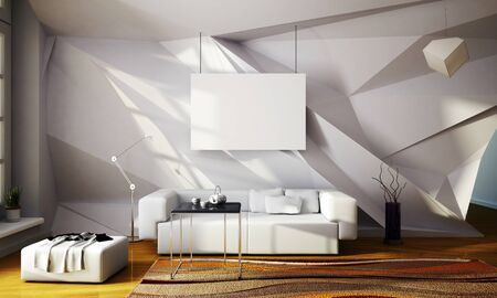 parametric: 3d illustration of mock up interior with parametric wall Stock Photo