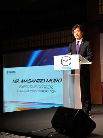 motor launch: Mr Masahiro Moro (Executive Officer, Mazda Motor Corporation) giving an opening address at the launch of Mazda CX-5 crossover SUV in Singapore on 13 Apr 2012