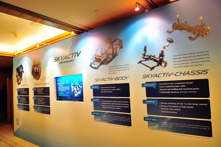 crossover: Exhibition board showing Skyactiv technology at the launch of Mazda CX-5 crossover SUV in Singapore on 13 Apr 2012