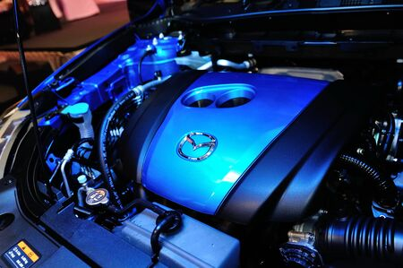 motor launch: New Mazda CX-5 engine on display at the launch of Mazda CX-5 crossover SUV in Singapore on 13 Apr 2012