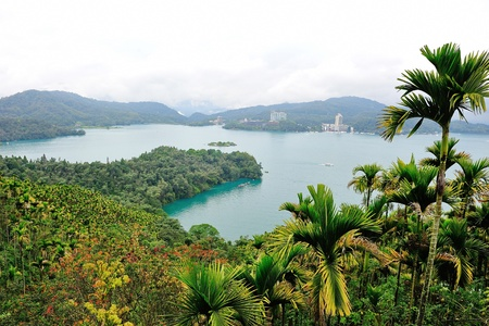 Aerial view of famous Sun Moon lake in Taiwan