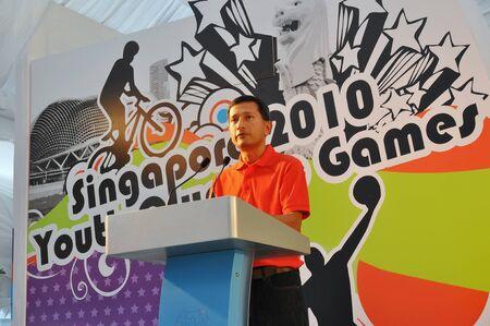 yog: Minister Vivian Balakrishnan giving a speech during Singapore 2010 Youth Olympic Games logo launch January 10, 2009 in Singapore