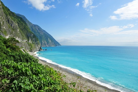 Beautiful east coast of Taiwan with clear blue sea and cliffs Stock Photo