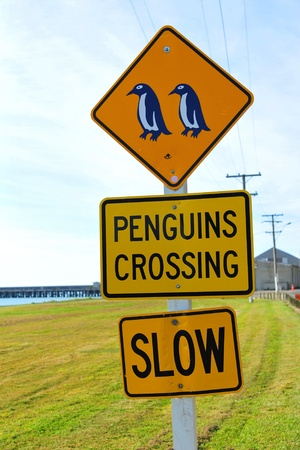 oamaru: Penguins crossing road sign near Blue Penguin Colony in Oamaru, New Zealand