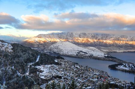 Scenic mountains, lakes and city aerial view of Queenstown, New Zealand photo