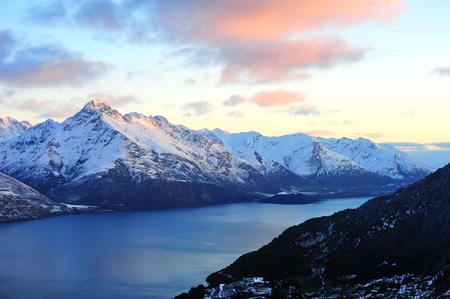 Scenic mountains and lake landscape in Queenstown, New Zealand Stock Photo