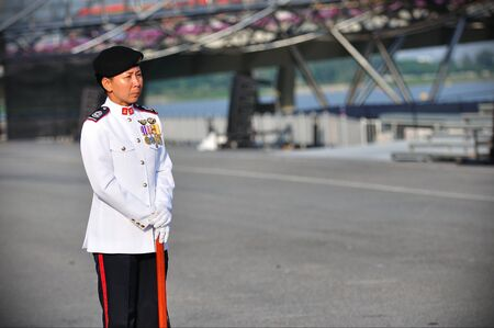 jennifer: Parade Regimental Sergeant Major (RSM), Master Warrant Officer (MWO) Jennifer Tan at National Day Parade Singapore 2011 Combined Rehearsal on June 25, 2011 in Singapore Editorial