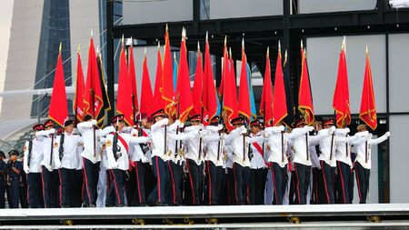 Colors party marching at National Day Parade Singapore 2011 Combined Rehearsal on June 25, 2011 in Singapore