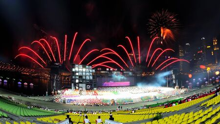 Fireworks display during National Day Parade Singapore 2011 Combined Rehearsal on June 25, 2011 in Singapore
