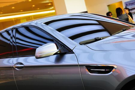 unveil: Side profile of new BMW M5 Concept at Munich Automobiles BMW Service Centre Open House on May 21, 2011 in Singapore Editorial