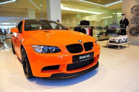 Static display of BMW M3 GTS sports coupe at Munich Automobiles BMW Service Centre Open House on May 21, 2011 in Singapore Stock Photo - 13266445