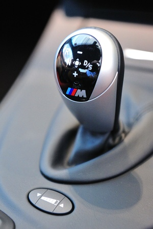 Gear stick of BMW M3 sports coupe at Munich Automobiles BMW Service Centre Open House on 21 May 2011 in Singapore