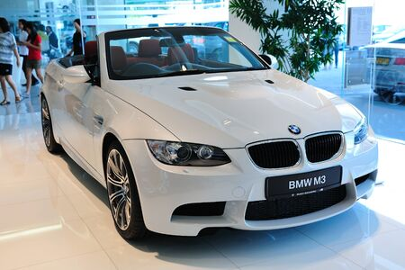 Static display of BMW M3 Cabriolet at Munich Automobiles BMW Service Centre Open House on May 21, 2011 in Singapore